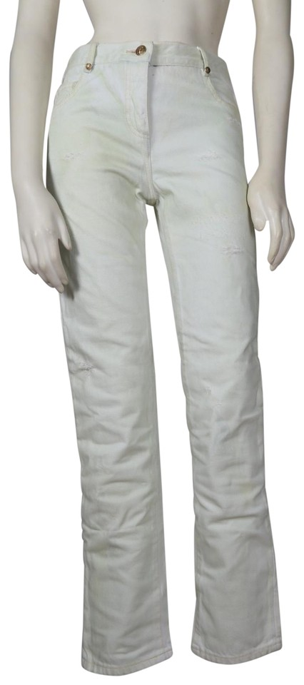 5b75e351 Balmain Yellow Distressed Stained Skinny Jeans Size 28 (4, S) - Tradesy