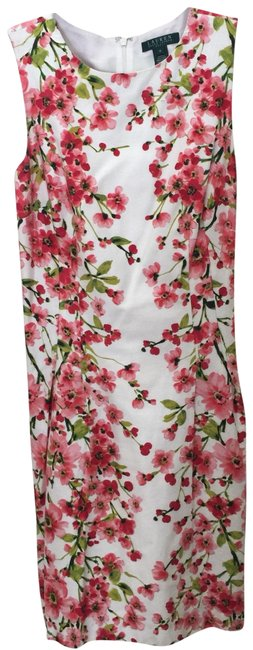 Item - Coral Pink Florals On White Background. Excellent Condition. Mid-length Work/Office Dress Size 10 (M)