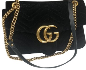 575c30c97777 Gucci Shoulder Bag · Gucci. Marmont Gg Black Velvet Gold Chain ...