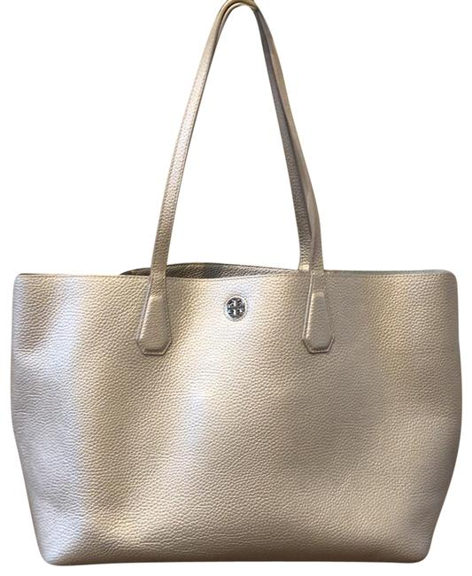 Item - Perry Large Silver Metallic Leather Tote