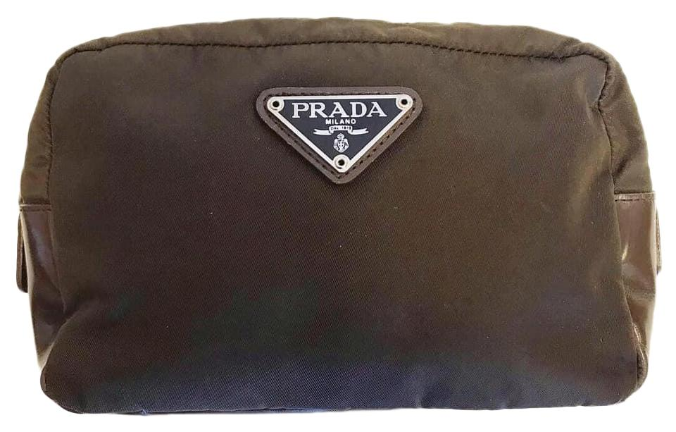 65e044089ce6 Prada Brown Vela Pouch Cosmetic Bag - Tradesy
