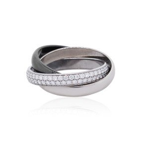 Cartier Cartier Trinity 18k White Gold Ceramic and Diamond Size 47 Ring