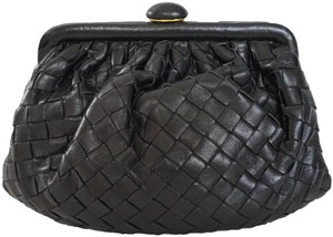 Bottega Veneta Intercciato Black Clutch