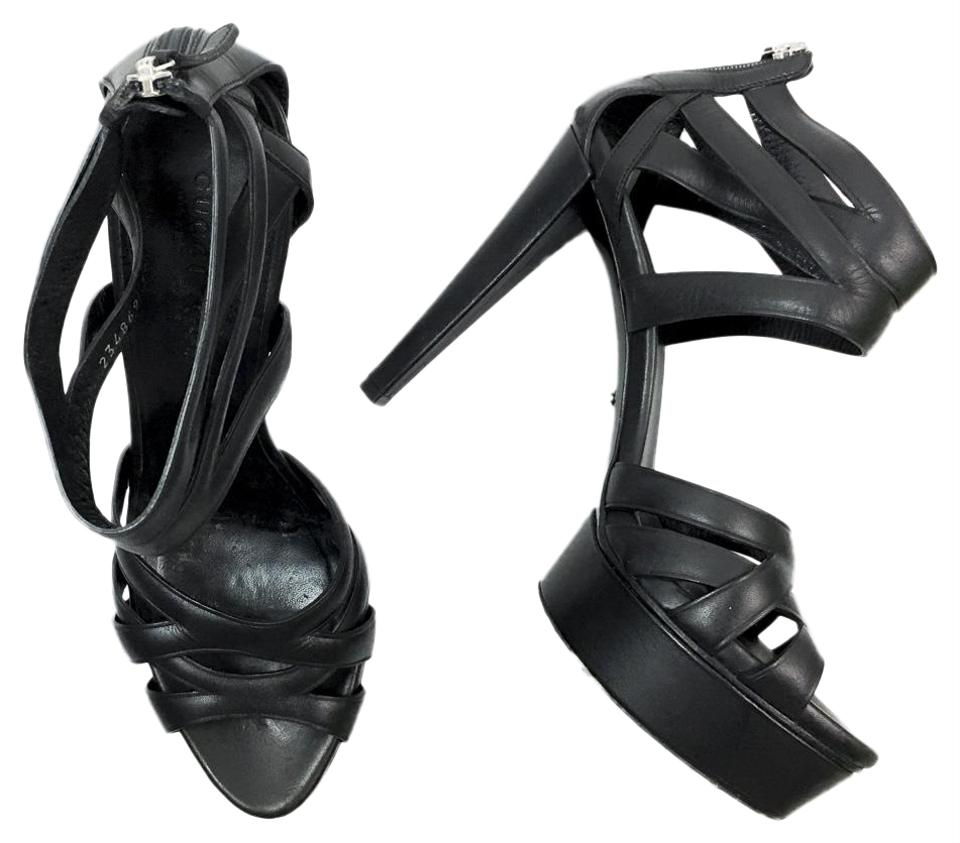 cb48522b9e72 Gucci Black Venus Leather Cage Strappy Platform Heels Sandals Size ...