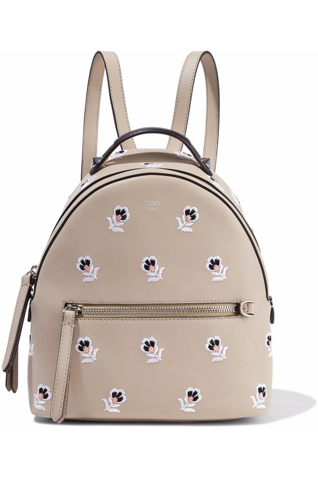 71db727db62c Fendi Zaino Mini Dolce T with Floral Embroidery Beige Leather Backpack -  Tradesy