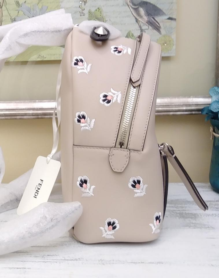 c6d5ba41285d Fendi Zaino Mini Dolce T with Floral Embroidery Beige Leather ...