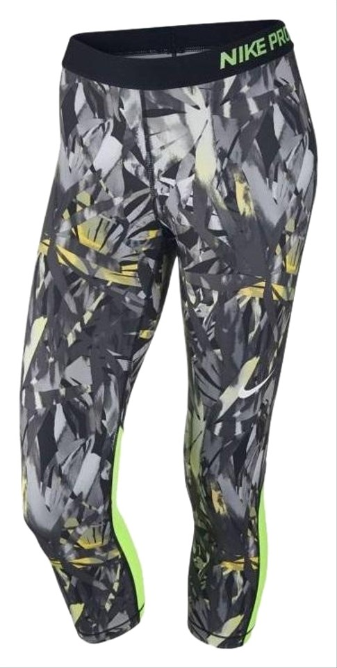 698c9f7e6202 Nike Black Gray Yellow Women s Pro Cool Training Capri Xs 832048-010  Activewear Bottoms