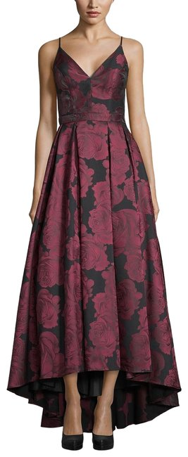 Item - Black/Berry Floral-print Gown Black/Berry Long Formal Dress Size 6 (S)