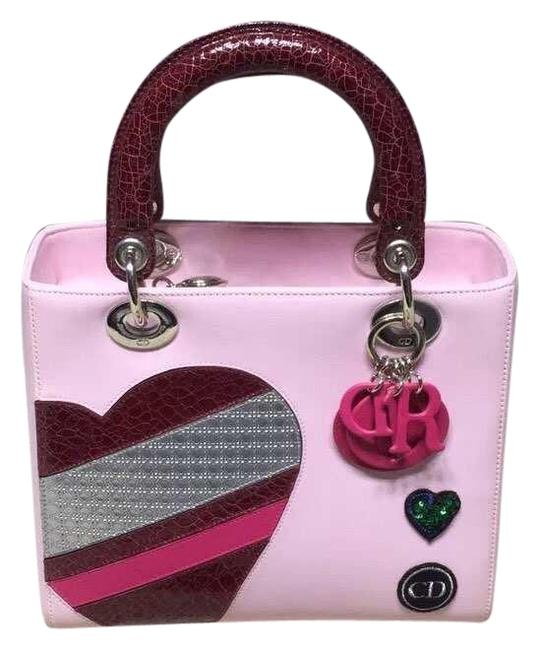 Item - Lady Valentine's Day Heart Baby Pink Leather Cross Body Bag