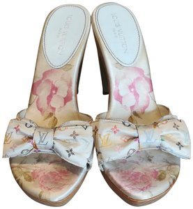 Louis Vuitton Pink, White, Multi Mules