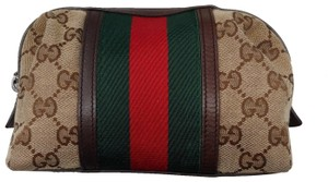 Gucci Original GG Monogram Supreme Sherry Web Clutch