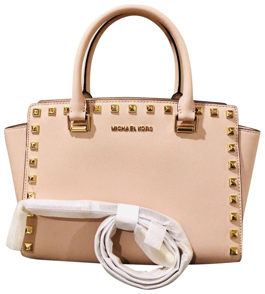 d523704af Michael Kors Selma Top Zip Stud Pink Gold Leather Satchel - Tradesy
