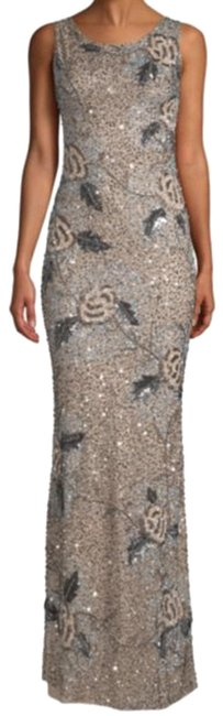 Item - Silver Black Vicky Beaded Gown Long Formal Dress Size 2 (XS)