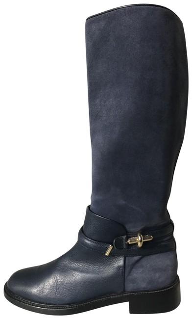 Item - Navy Suede Leather Knee High Boots/Booties Size US 9 Regular (M, B)
