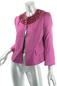 Ellen Tracy Neiman Marcus Beaded Neckline Evening Pink Jacket