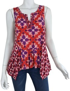 Anthropologie Boho Bohemian Print Pattern Embroidered Top Red/Blue/Pink/White