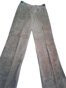 Votre Nom French Design Leather Decorative Stitch Fully Lined Made In China Straight Pants brown