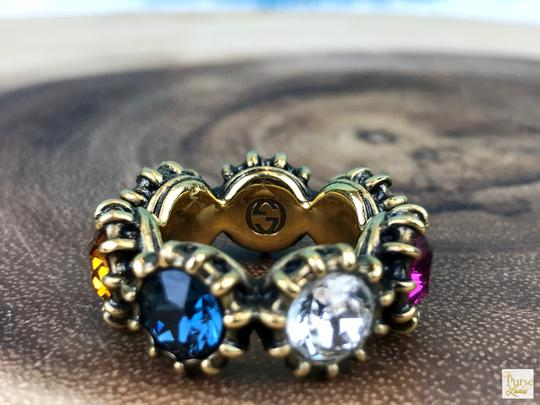Gucci Gucci Aged Gold Tone Multi-Color Crystal Tiger Head Party Ring SZ 7.5