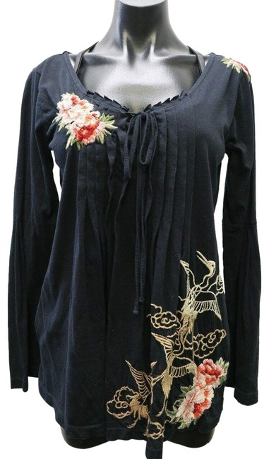 Johnny Was Black Blouse Floral Embroidered Medium Tunic ...