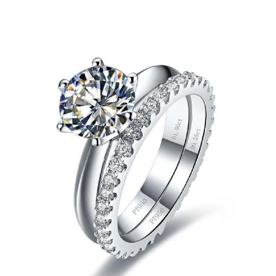 Is Stock Let Me Know Your After Payment In A Message 4.5 5 5.5 6 6.5 7 7.5 8 8.5 2ct Set Pt950 Engagement Ring Image 1
