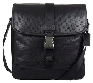 7d9445494e Coach Men Black Messenger Bag. Coach Varick Perforated Map Crossbody  Shoulder Black Leather ...