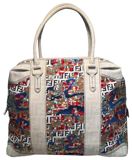 Item - Bag And Multicolor Sequin White Canvas Tote