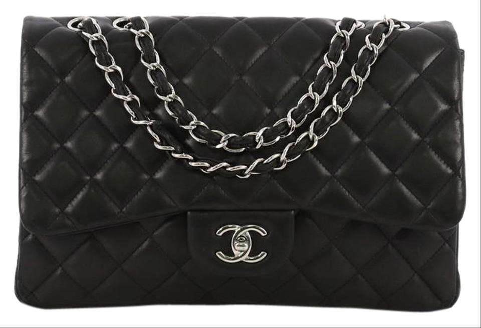 d1f36ce92de2 Chanel Classic Flap Classic Single Quilted Jumbo Black Lambskin ...