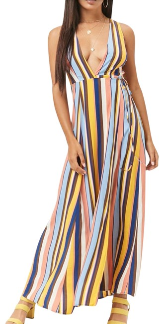 Item - Multicolor Striped Woven Wrap Nwot Long Casual Maxi Dress Size 4 (S)