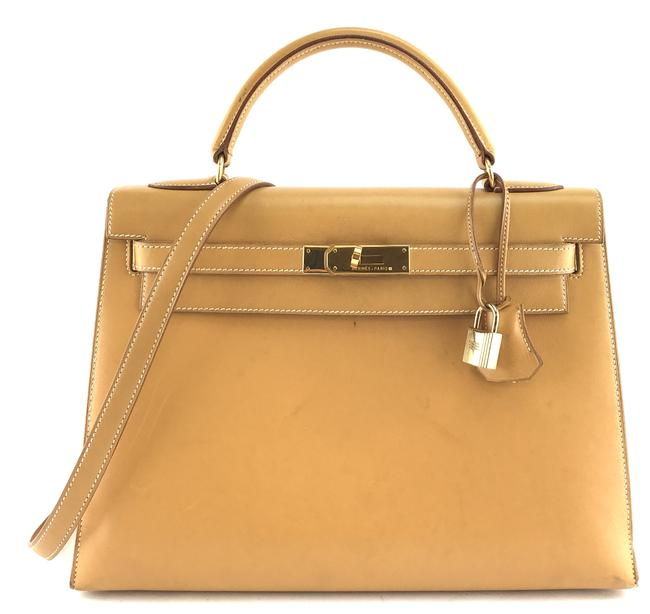 Item - Kelly #28087 with Strap 32 32 Cm Sellier Hardware Top Handle Light Gold Natural Color Box Calf Leather Satchel