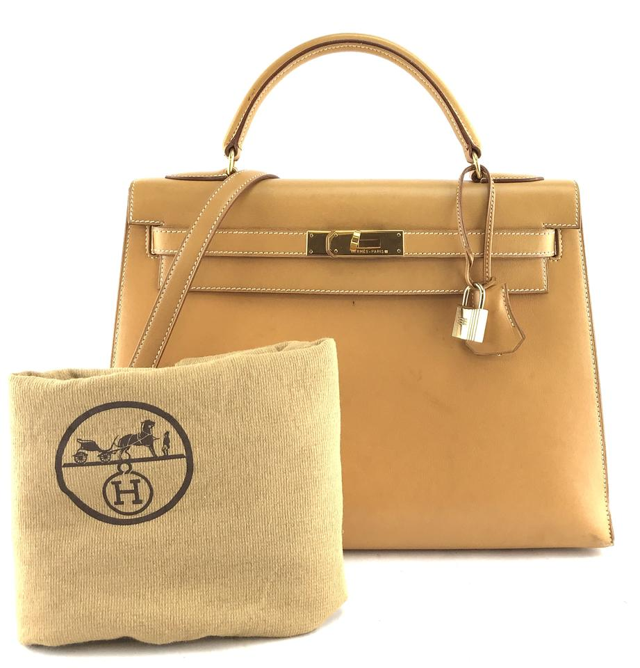 3e05d90b167b Hermès Kelly  28087 with Strap 32 32 Cm Sellier Hardware Top Handle Light  Gold Natural Color Box Calf Leather Satchel - Tradesy