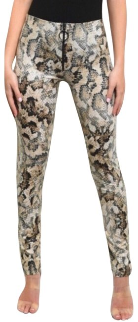 Preload https://img-static.tradesy.com/item/24975016/brown-snake-print-leather-look-leggings-size-10-m-31-0-1-650-650.jpg