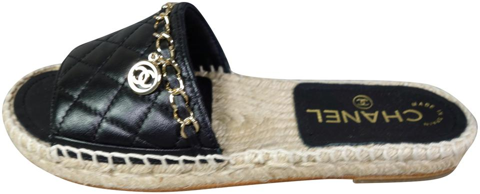 722d1e70c79 Chanel Black Quilted Lambskin Espadrilles Sold Out Slides Gold Cc New Flats