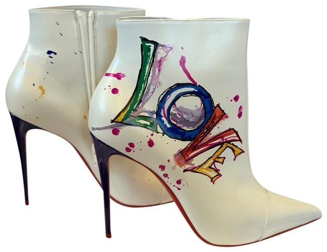 Item - White Blue Red Yellow and Green In Love Boots/Booties Size US 12 Regular (M, B)