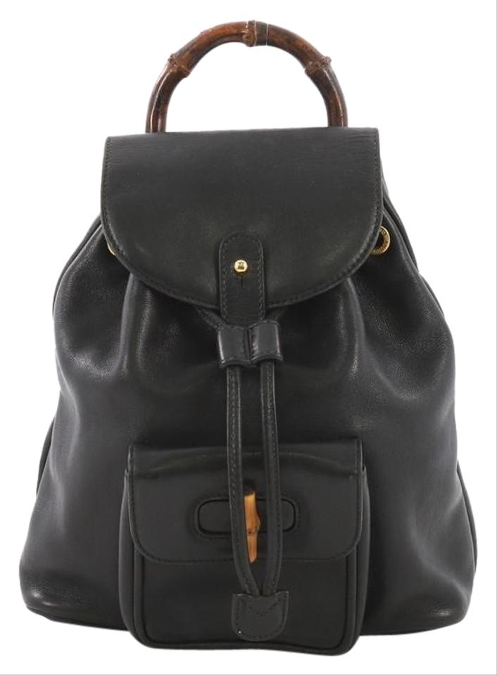 Gucci Vintage Bamboo Mini Black Leather Backpack - Tradesy