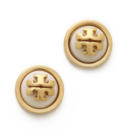 Tory Burch Melodie Logo Stud Earrings, Ivory/Shiny Gold Image 1