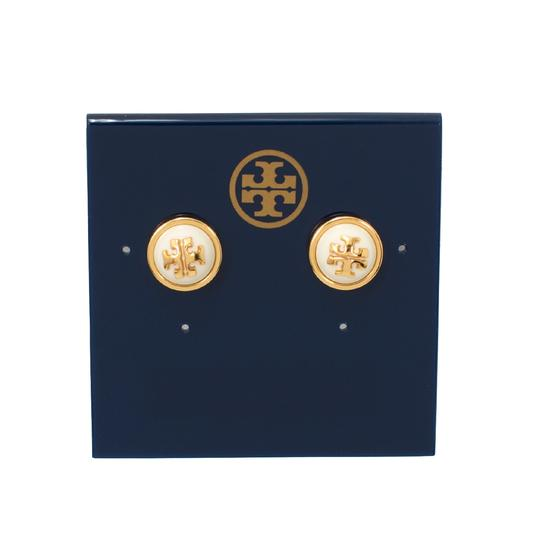 Tory Burch Melodie Logo Stud Earrings, Ivory/Shiny Gold Image 2