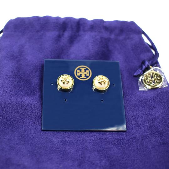 Tory Burch Melodie Logo Stud Earrings, Ivory/Shiny Gold Image 4