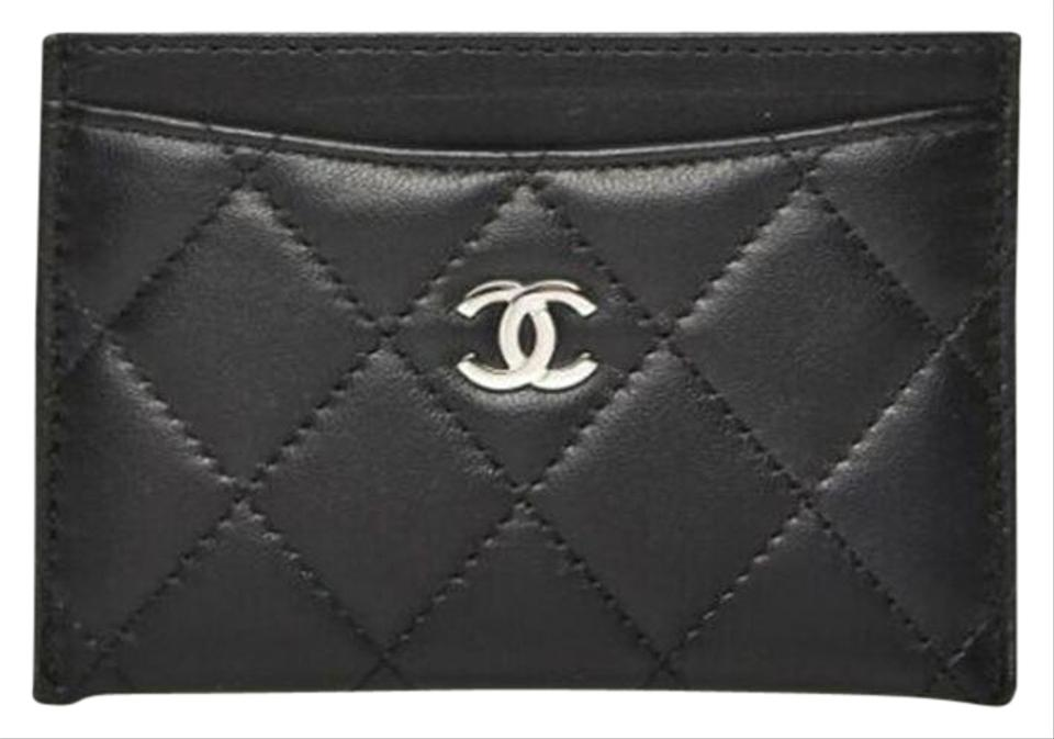 29d3b3071b1 Chanel NEW Chanel Credit Card Holder Black Leather Diamond Quilted CC Logo  Image 0 ...