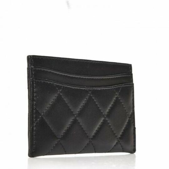 480557eca76f Chanel NEW Chanel Credit Card Holder Black Leather Diamond Quilted CC Logo  Image 2