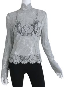 Louis Feraud Victorian Chic Vintage Lace Top Gray
