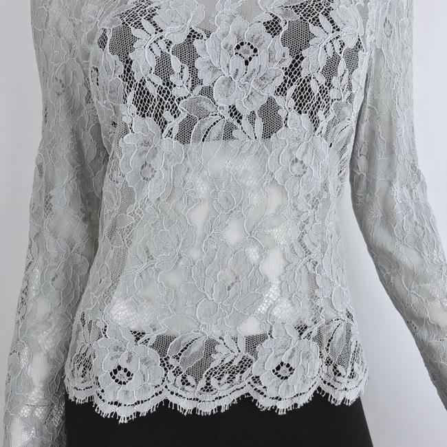Louis Feraud Victorian Chic Vintage Lace Top Gray Image 2