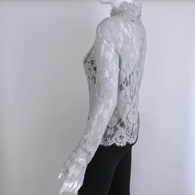 Louis Feraud Victorian Chic Vintage Lace Top Gray Image 3