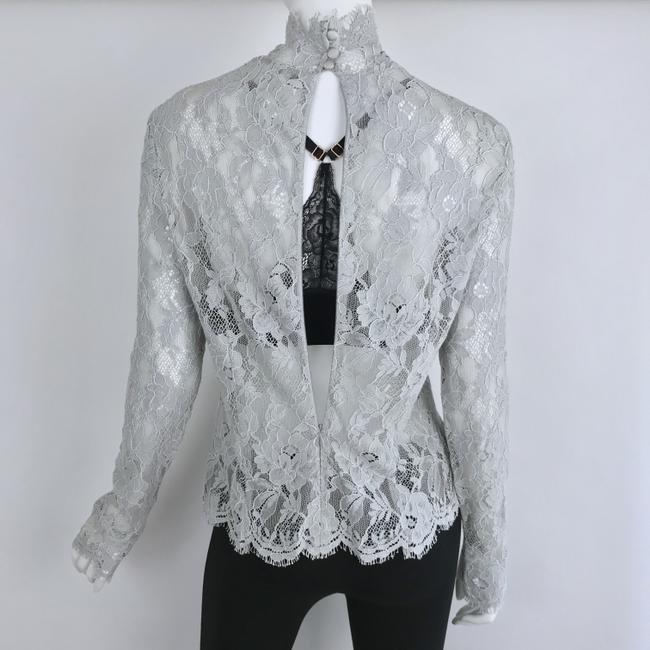 Louis Feraud Victorian Chic Vintage Lace Top Gray Image 4