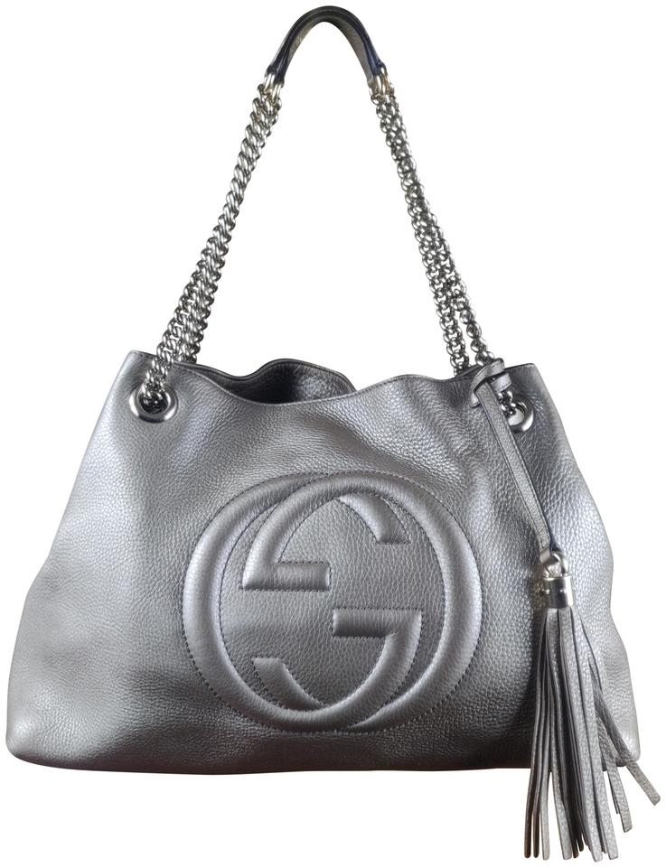 89f3358b4b1 Gucci Soho Used with Chain Strap Medium Silver Leather Shoulder Bag ...