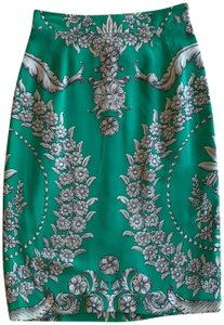 Yoana Baraschi Skirt Kelly green with shades of grey floral print