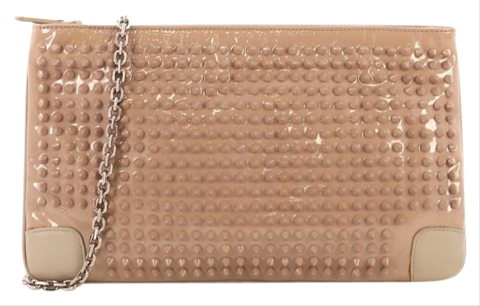 7785d907f875 Christian Louboutin Loubiposh Spiked Nude Patent Leather Clutch ...