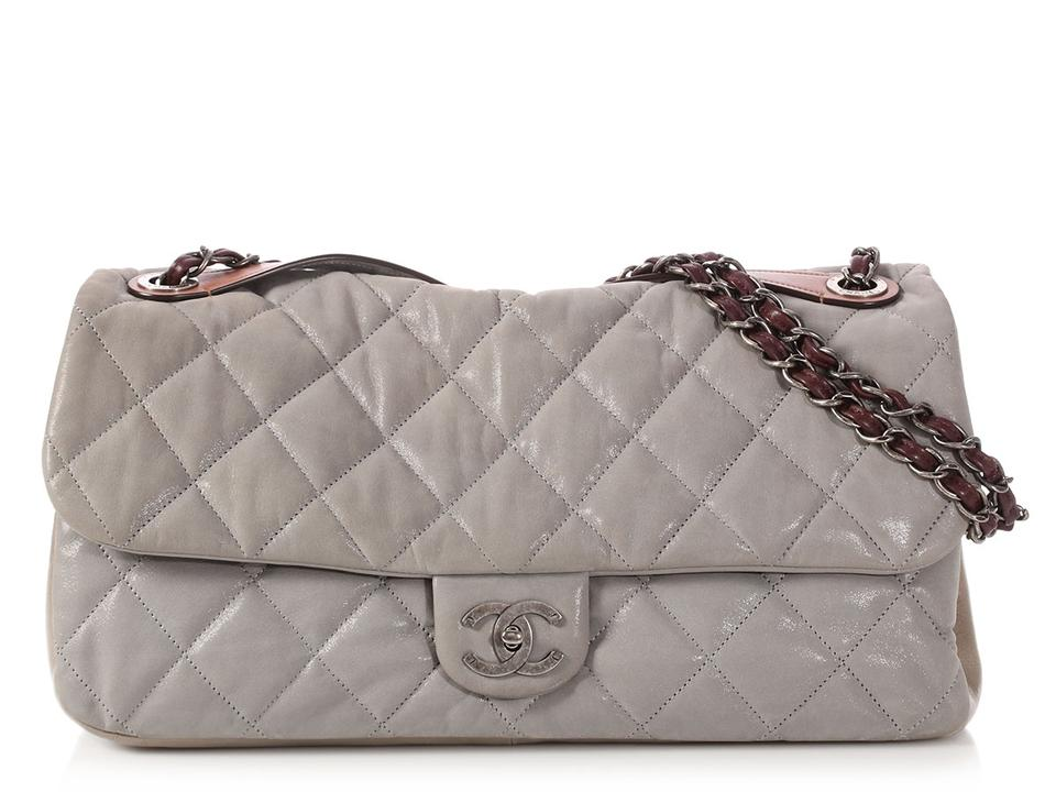 e6af99c10f16c4 Chanel In The Mix Jumbo Flap Quilted Gray Calfskin Leather Shoulder Bag