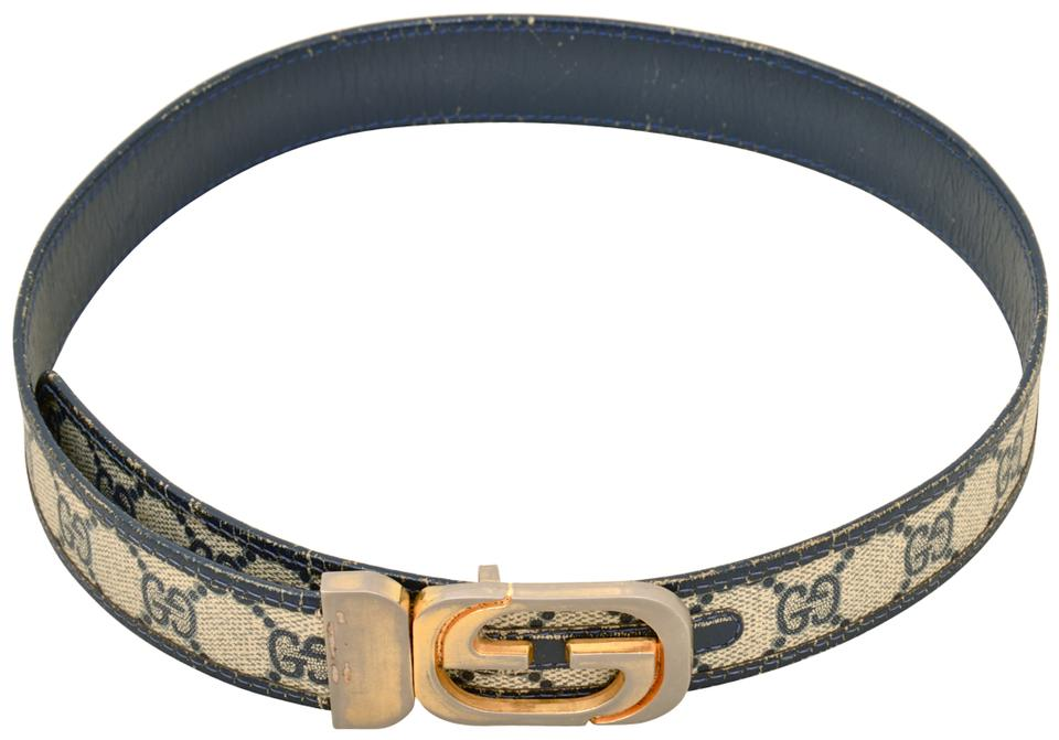 8a6e2e5859e Gucci Navy Vintage Monogram Leather with Gold Gg Logo Buckle Belt ...