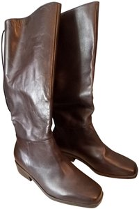 Markon Leather High Square Toe Rubber Sole Classic Style Brown Boots