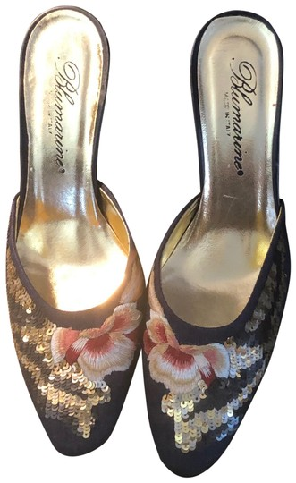Blumarine Navy with Colored Embroidery Mules Image 0